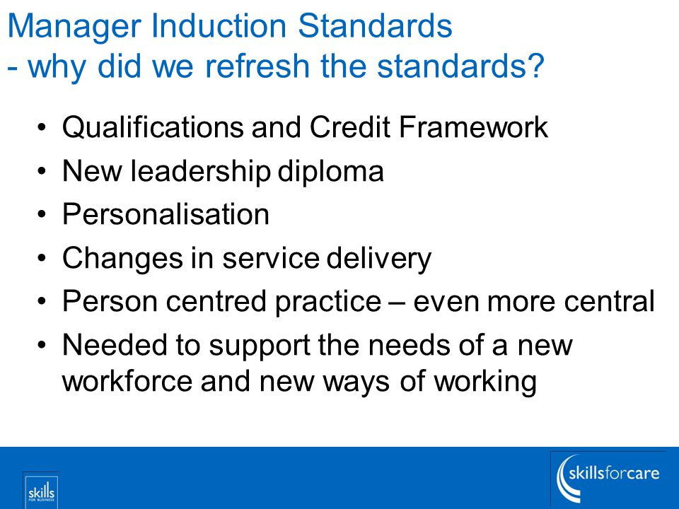Manager Induction Standards - why did we refresh the standards