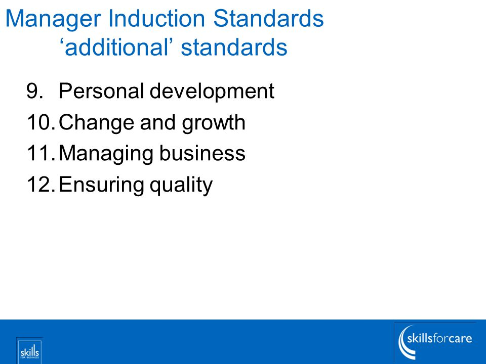 Manager Induction Standards 'additional' standards