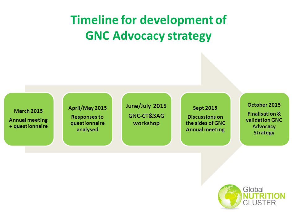 Timeline for development of GNC Advocacy strategy