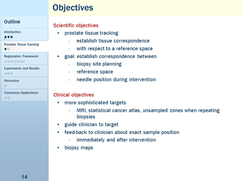 Objectives Outline Scientific objectives prostate tissue tracking