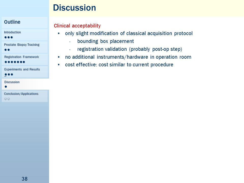 Discussion Outline Clinical acceptability