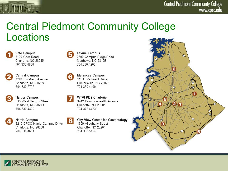 Cpcc Main Campus Map.Central Piedmont Community College Ppt Video Online Download