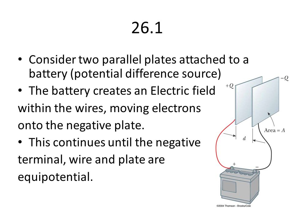 26.1 Consider two parallel plates attached to a battery (potential difference source) The battery creates an Electric field.