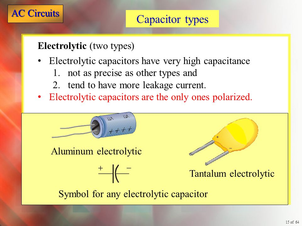 Capacitor types Electrolytic (two types)