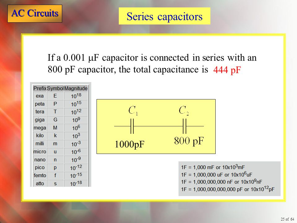 Series capacitors If a 0.001 mF capacitor is connected in series with an 800 pF capacitor, the total capacitance is.