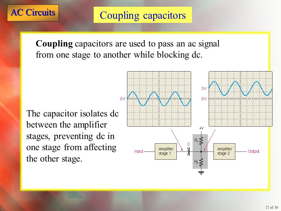 Coupling capacitors Coupling capacitors are used to pass an ac signal from one stage to another while blocking dc.