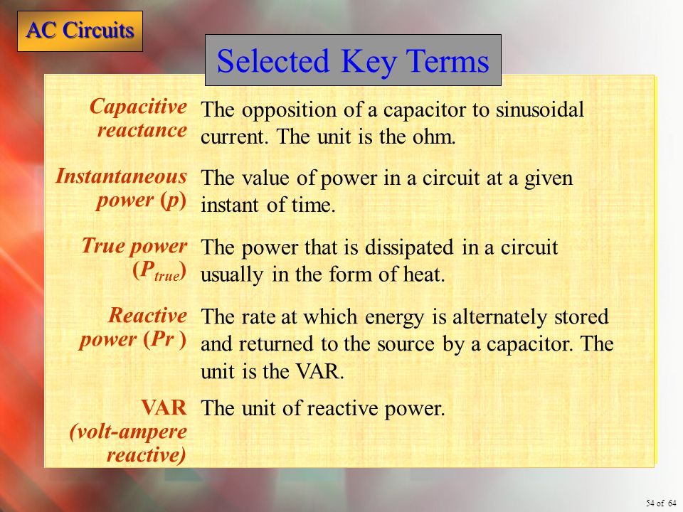 Selected Key Terms Capacitive reactance