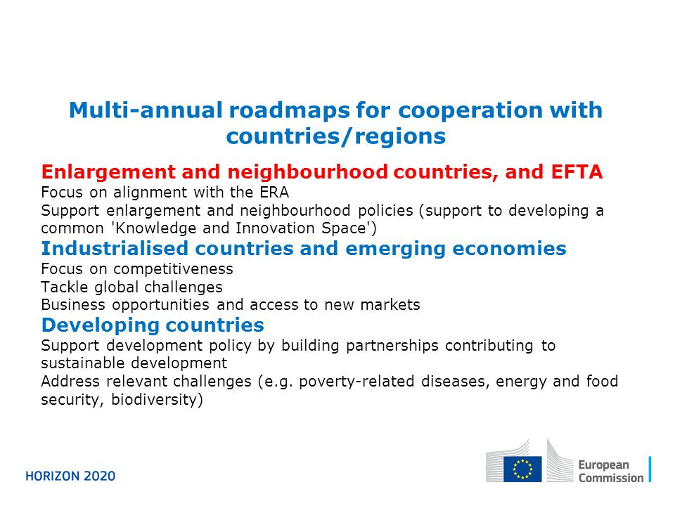 Multi-annual roadmaps for cooperation with countries/regions