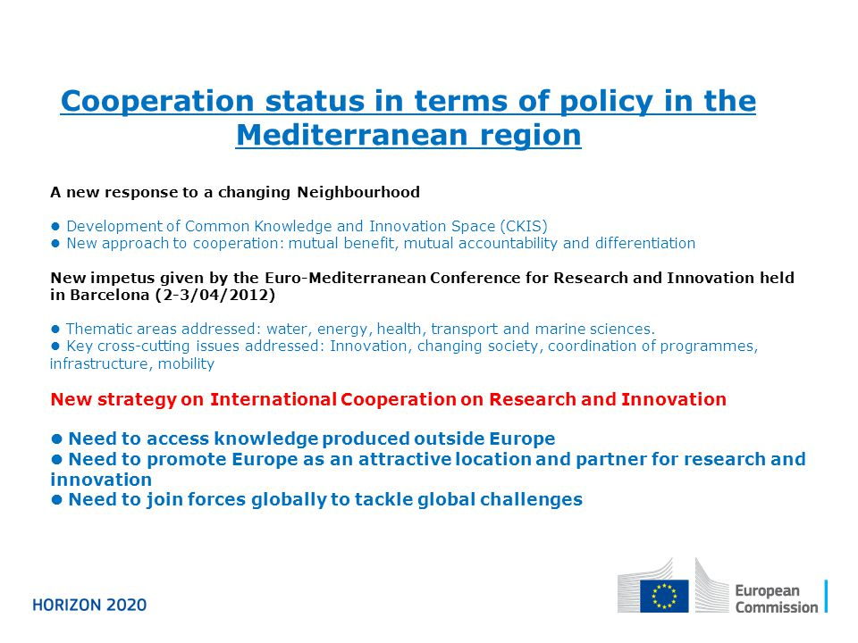 Cooperation status in terms of policy in the Mediterranean region