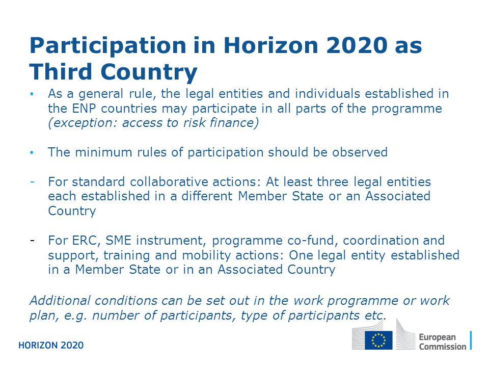 Participation in Horizon 2020 as Third Country