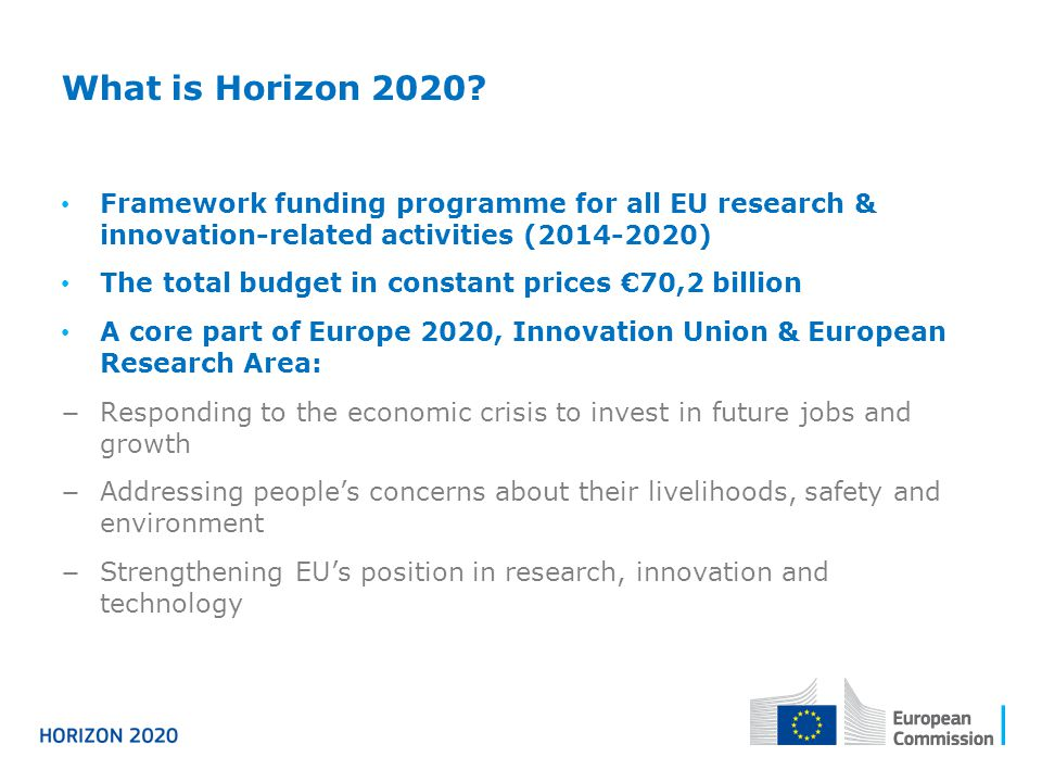 What is Horizon 2020 Framework funding programme for all EU research & innovation-related activities ( )
