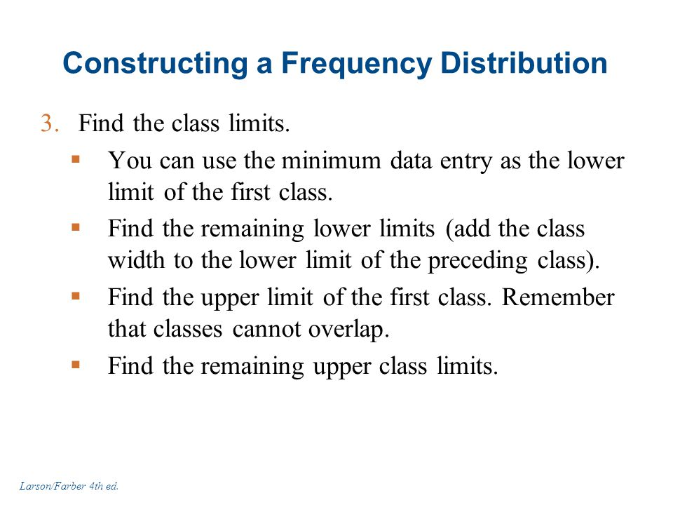Constructing a Frequency Distribution