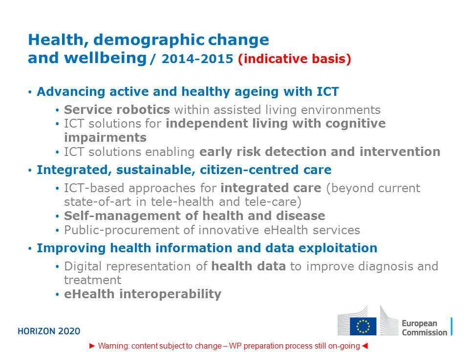 Health, demographic change and wellbeing / (indicative basis)