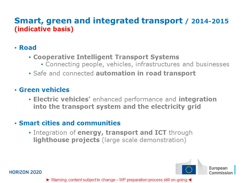 Smart, green and integrated transport / (indicative basis)