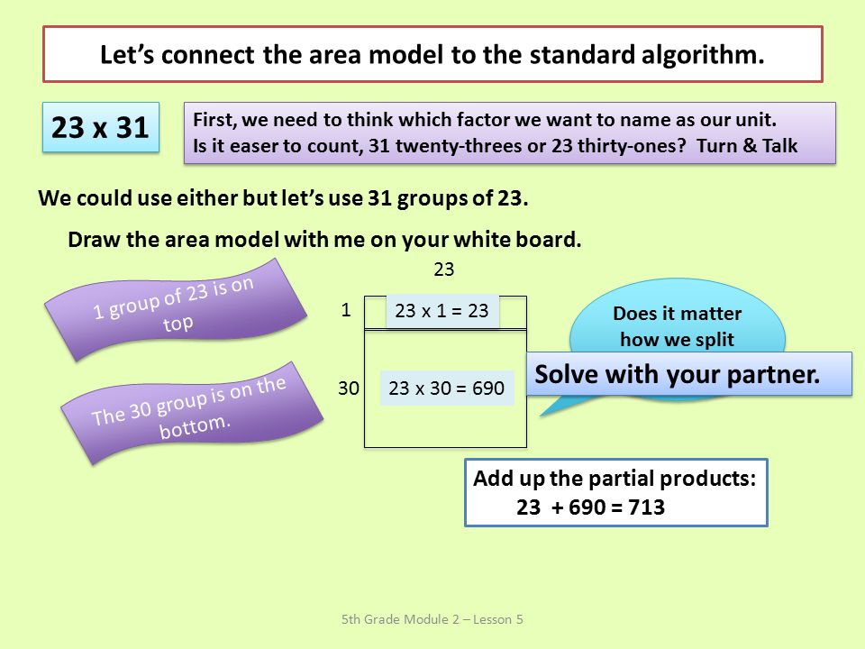 Let's connect the area model to the standard algorithm.