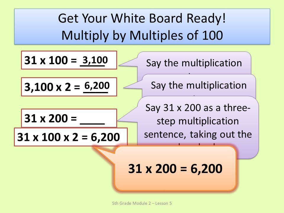 Get Your White Board Ready! Multiply by Multiples of 100