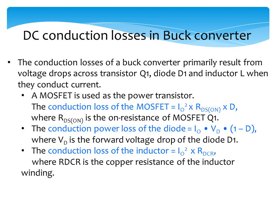DC conduction losses in Buck converter