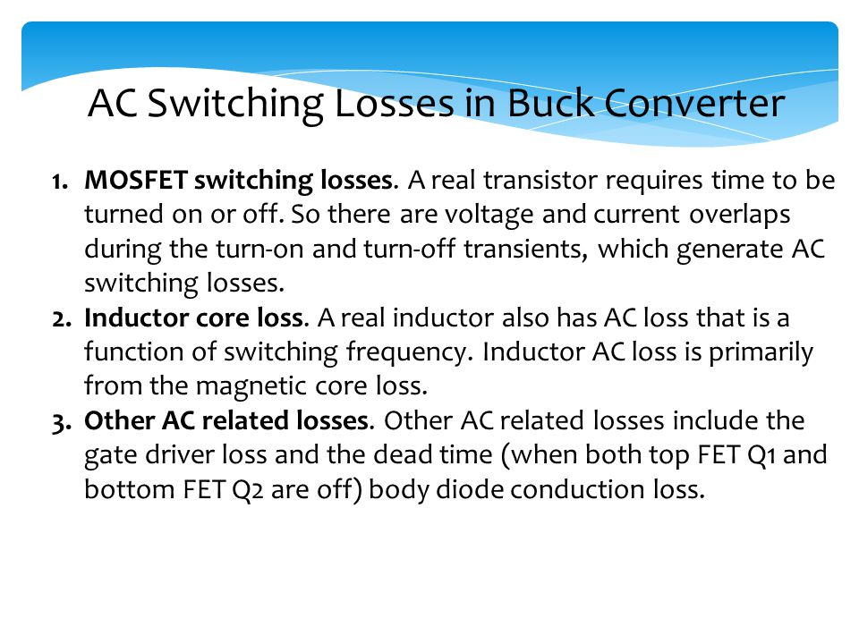 AC Switching Losses in Buck Converter