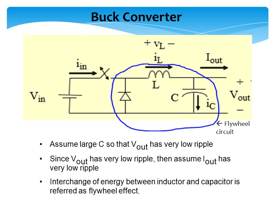 Buck Converter Assume large C so that Vout has very low ripple