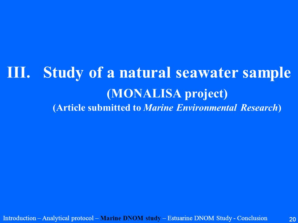 Study of a natural seawater sample (MONALISA project) (Article submitted to Marine Environmental Research)