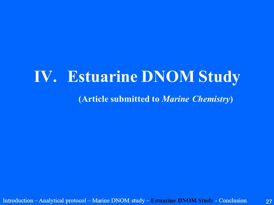 Estuarine DNOM Study (Article submitted to Marine Chemistry)
