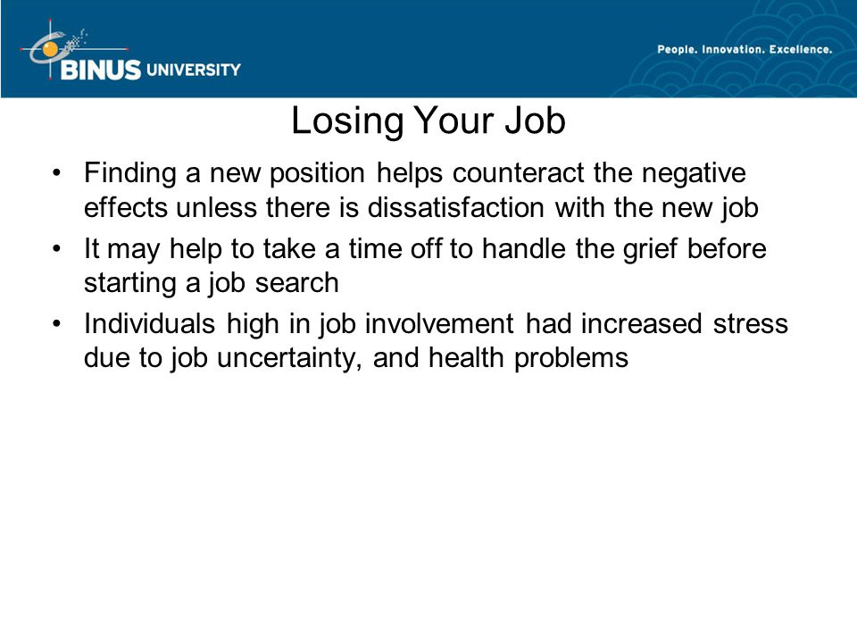effects of losing your job