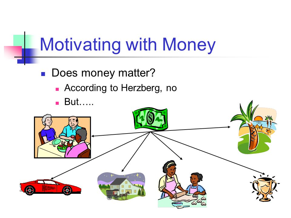 Motivating with Money Does money matter According to Herzberg, no