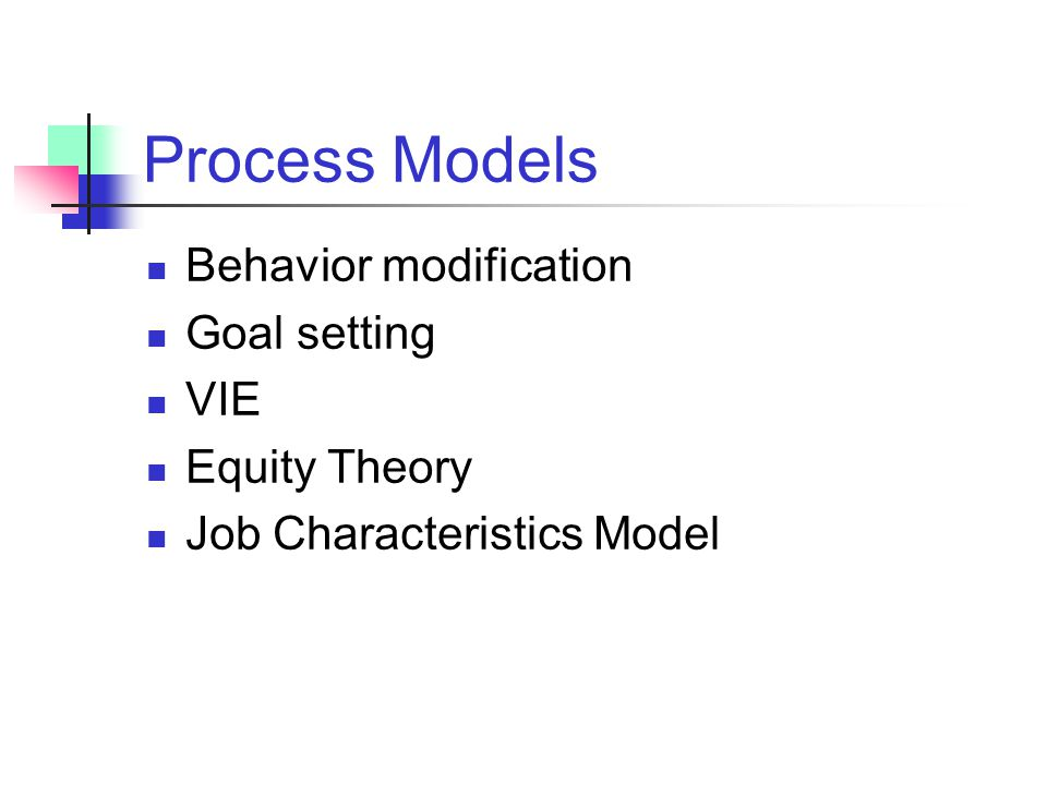 Process Models Behavior modification Goal setting VIE Equity Theory