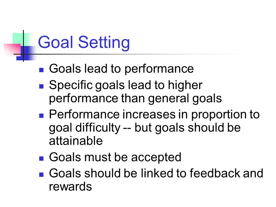 Goal Setting Goals lead to performance