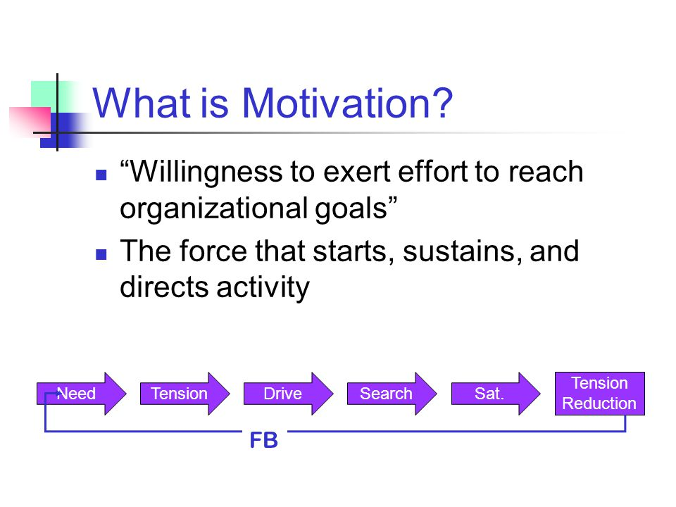 What is Motivation Willingness to exert effort to reach organizational goals The force that starts, sustains, and directs activity.