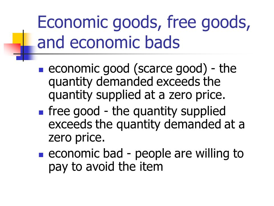 difference between free goods and economic goods