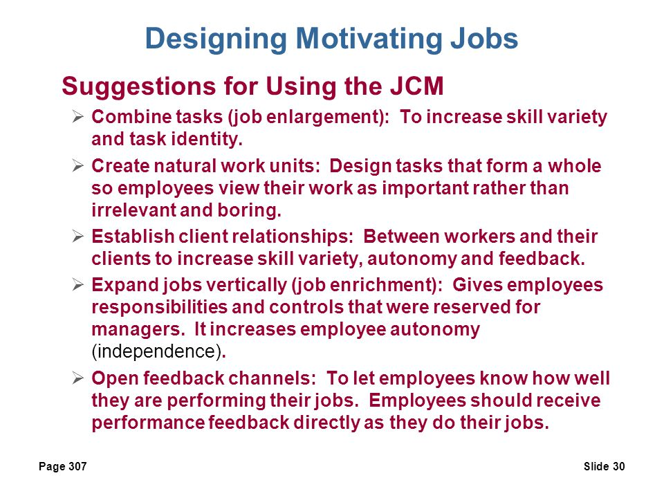 Designing Motivating Jobs