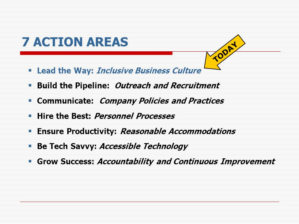 7 ACTION AREAS Lead the Way: Inclusive Business Culture