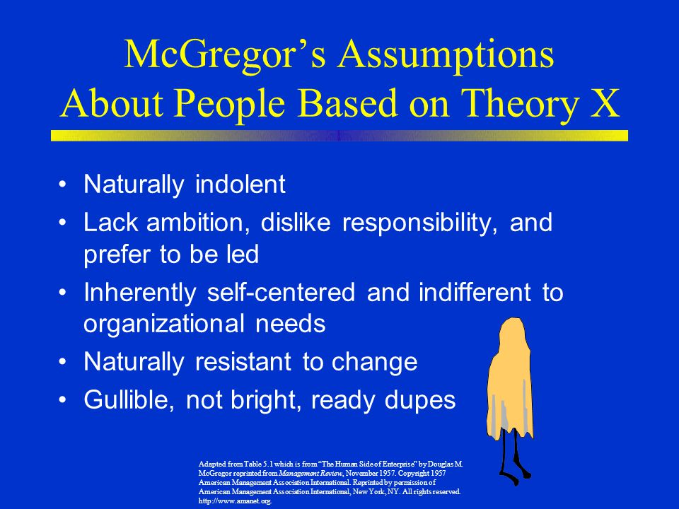McGregor's Assumptions About People Based on Theory X
