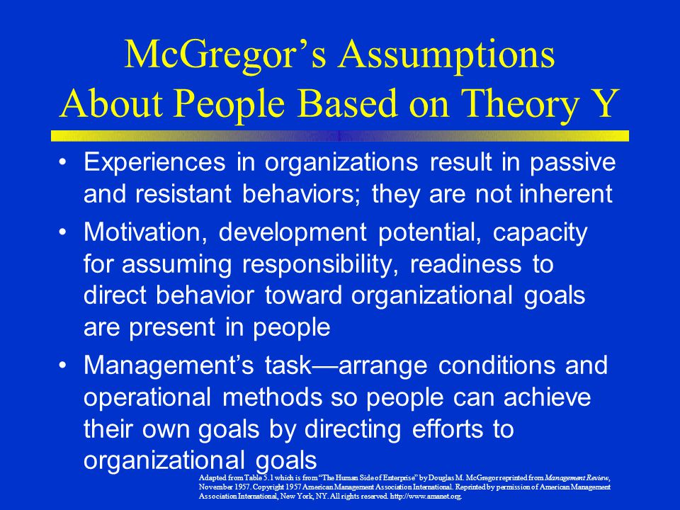 McGregor's Assumptions About People Based on Theory Y