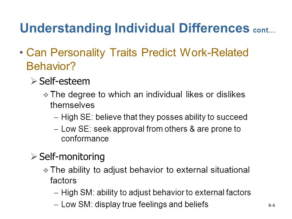 Understanding Individual Differences cont…