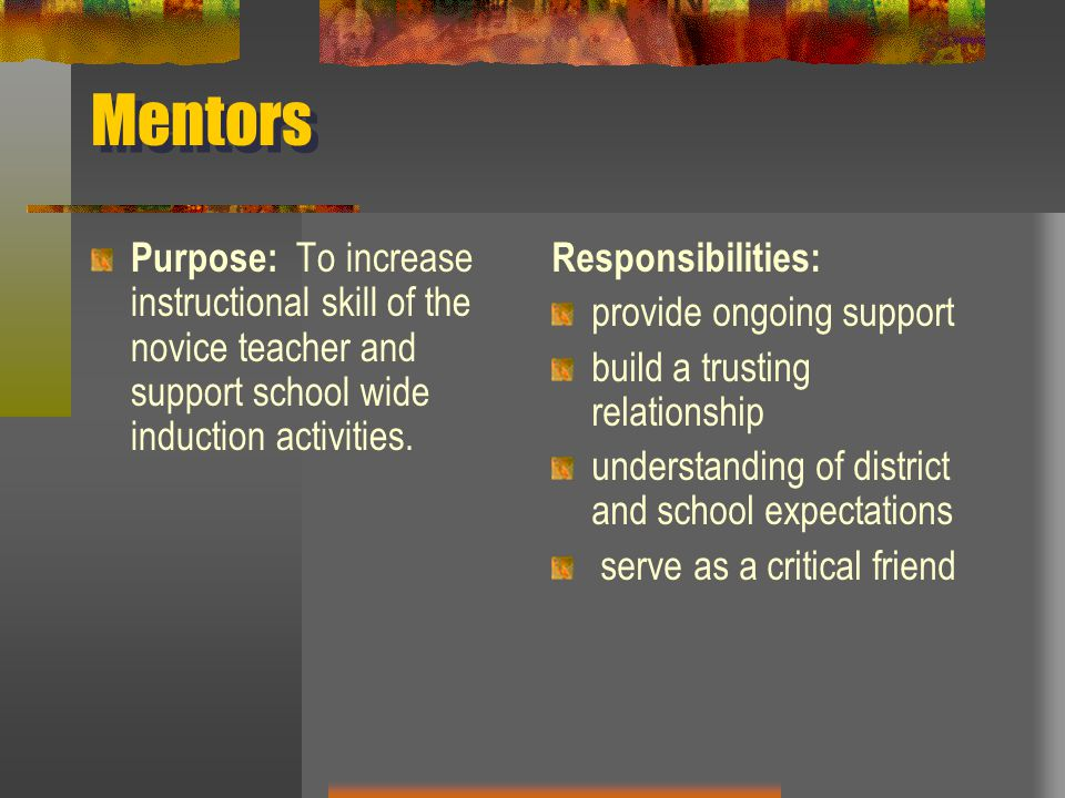 Mentors Purpose: To increase instructional skill of the novice teacher and support school wide induction activities.