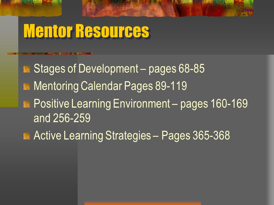 Mentor Resources Stages of Development – pages 68-85