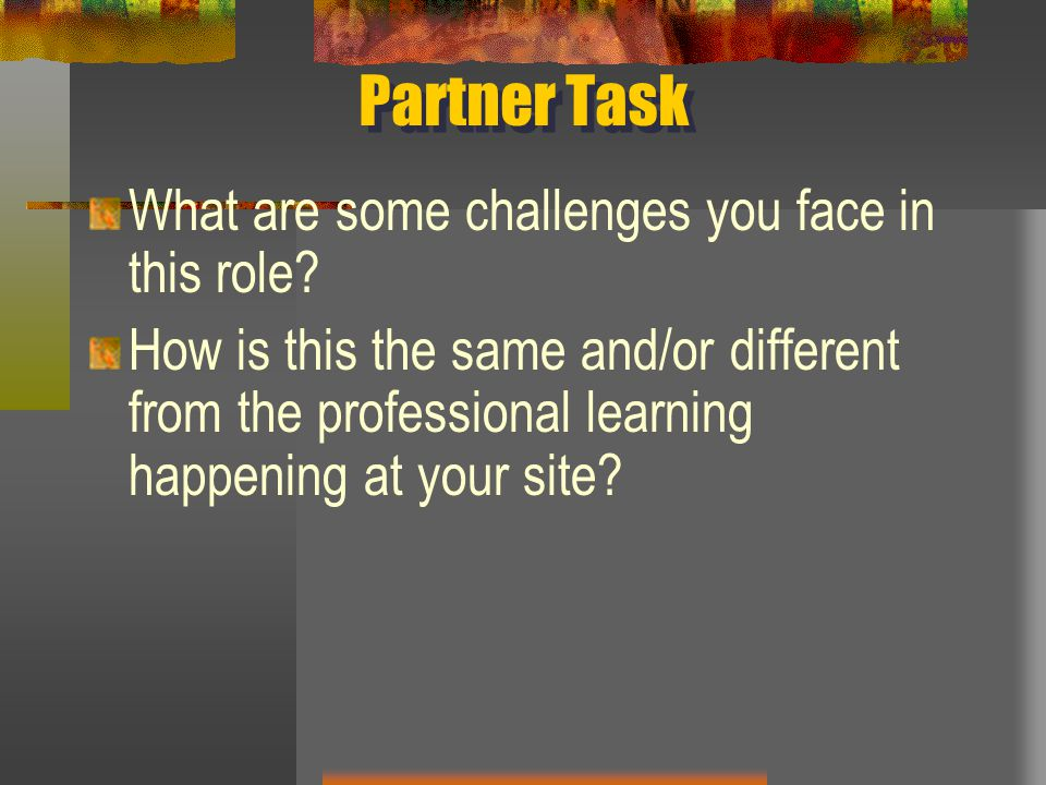 Partner Task What are some challenges you face in this role