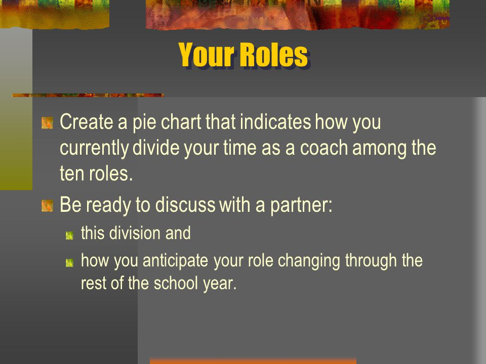 Your Roles Create a pie chart that indicates how you currently divide your time as a coach among the ten roles.