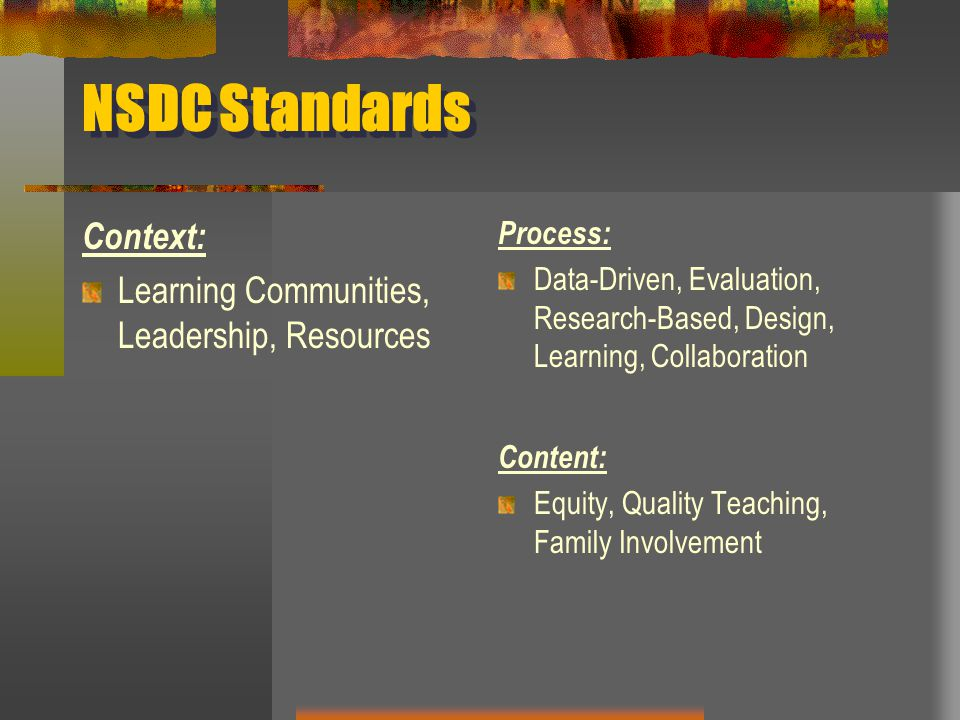 NSDC Standards Context: Learning Communities, Leadership, Resources