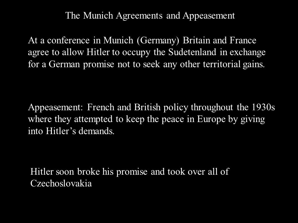 The Munich Agreements and Appeasement