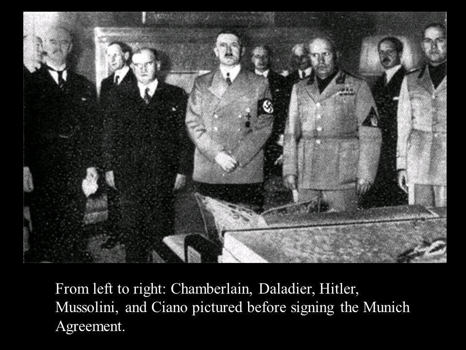 From left to right: Chamberlain, Daladier, Hitler, Mussolini, and Ciano pictured before signing the Munich Agreement.