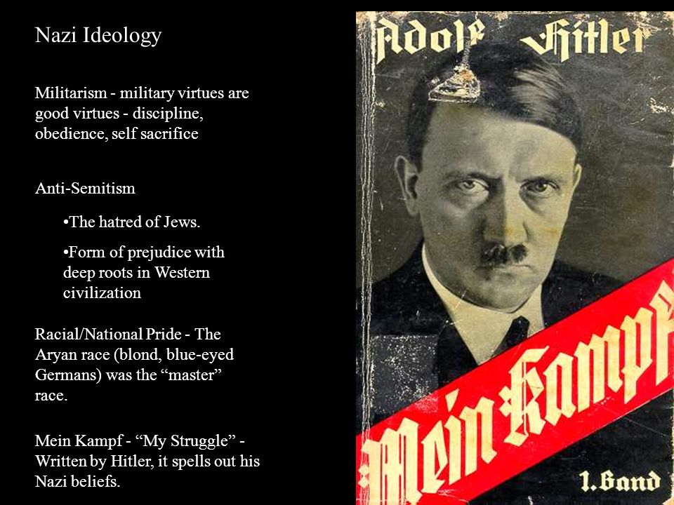 Nazi Ideology Militarism - military virtues are good virtues - discipline, obedience, self sacrifice.