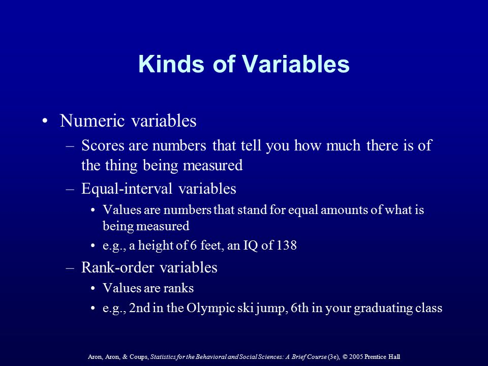 Kinds of Variables Numeric variables