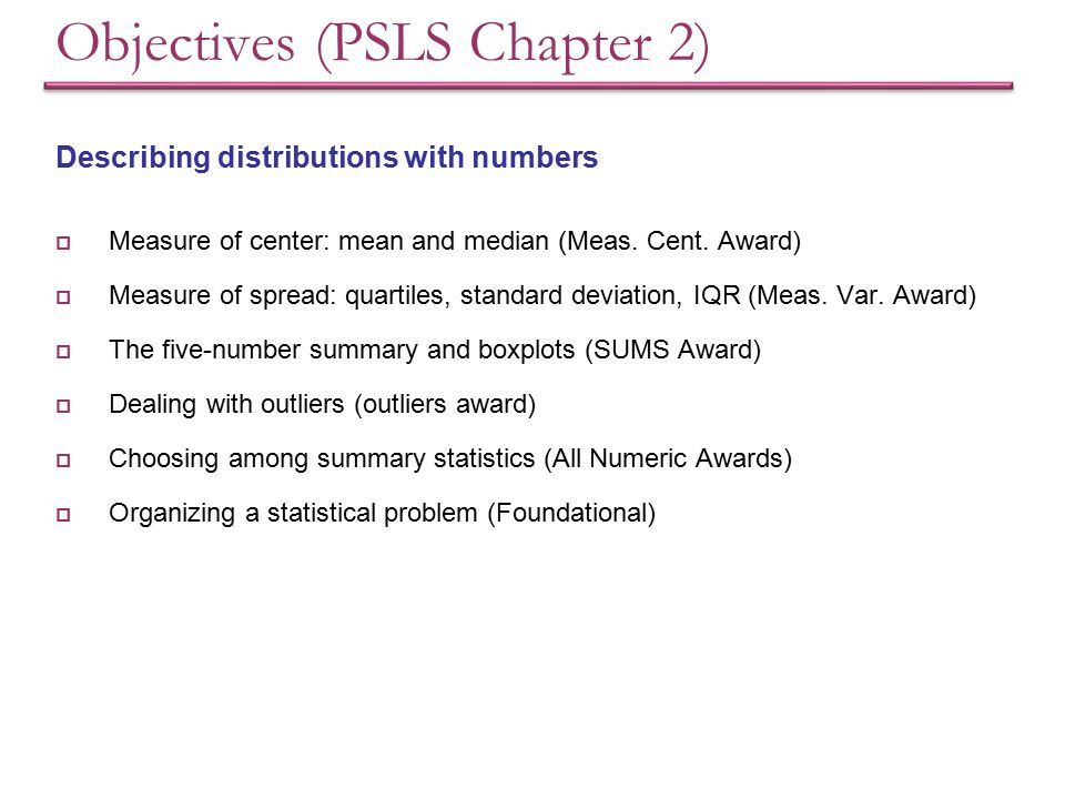 Objectives (PSLS Chapter 2)