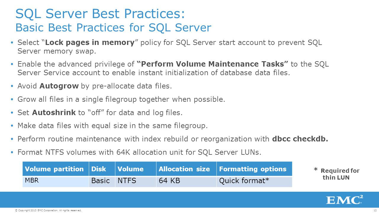 Microsoft SQL Server: Best Practices and Design Guidelines for EMC