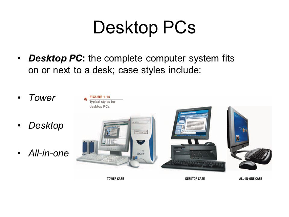 Desktop PCs Desktop PC: the complete computer system fits on or next to a desk; case styles include: