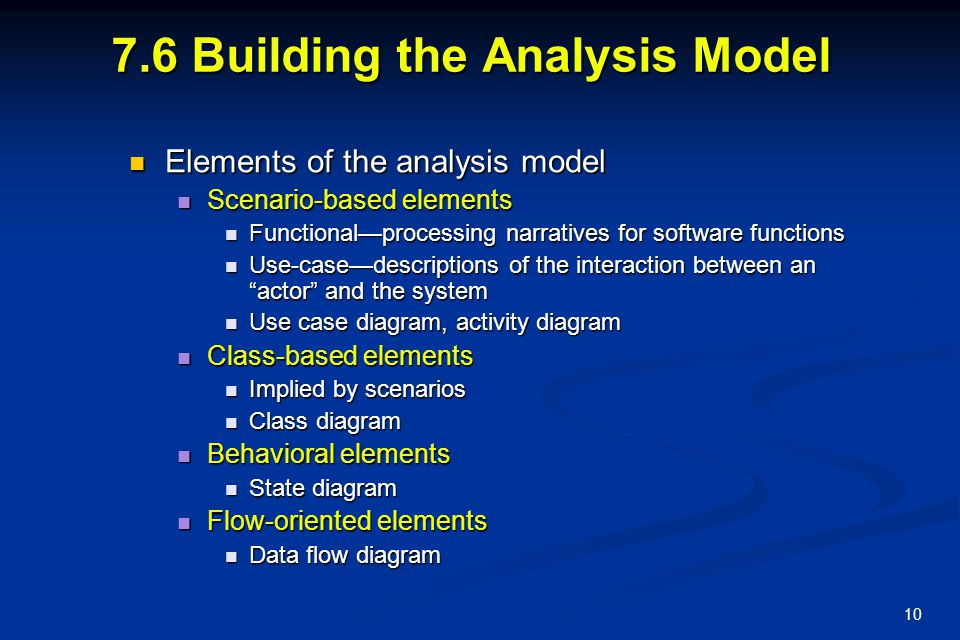 7.6 Building the Analysis Model