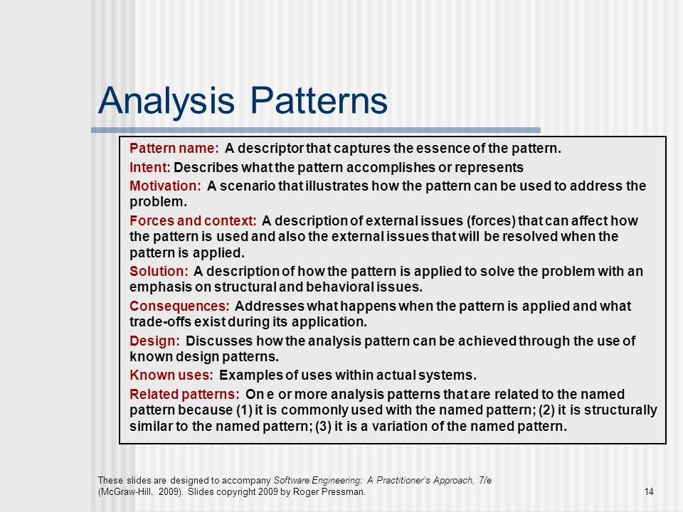 Analysis Patterns Pattern name: A descriptor that captures the essence of the pattern.